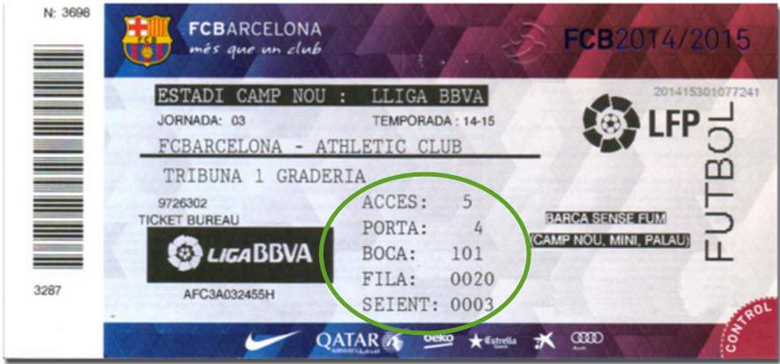 ticket FC Barcelona met vertaling