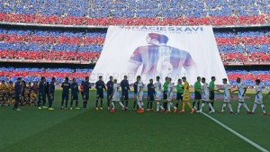 Tifo voor Xavi in Camp Nou
